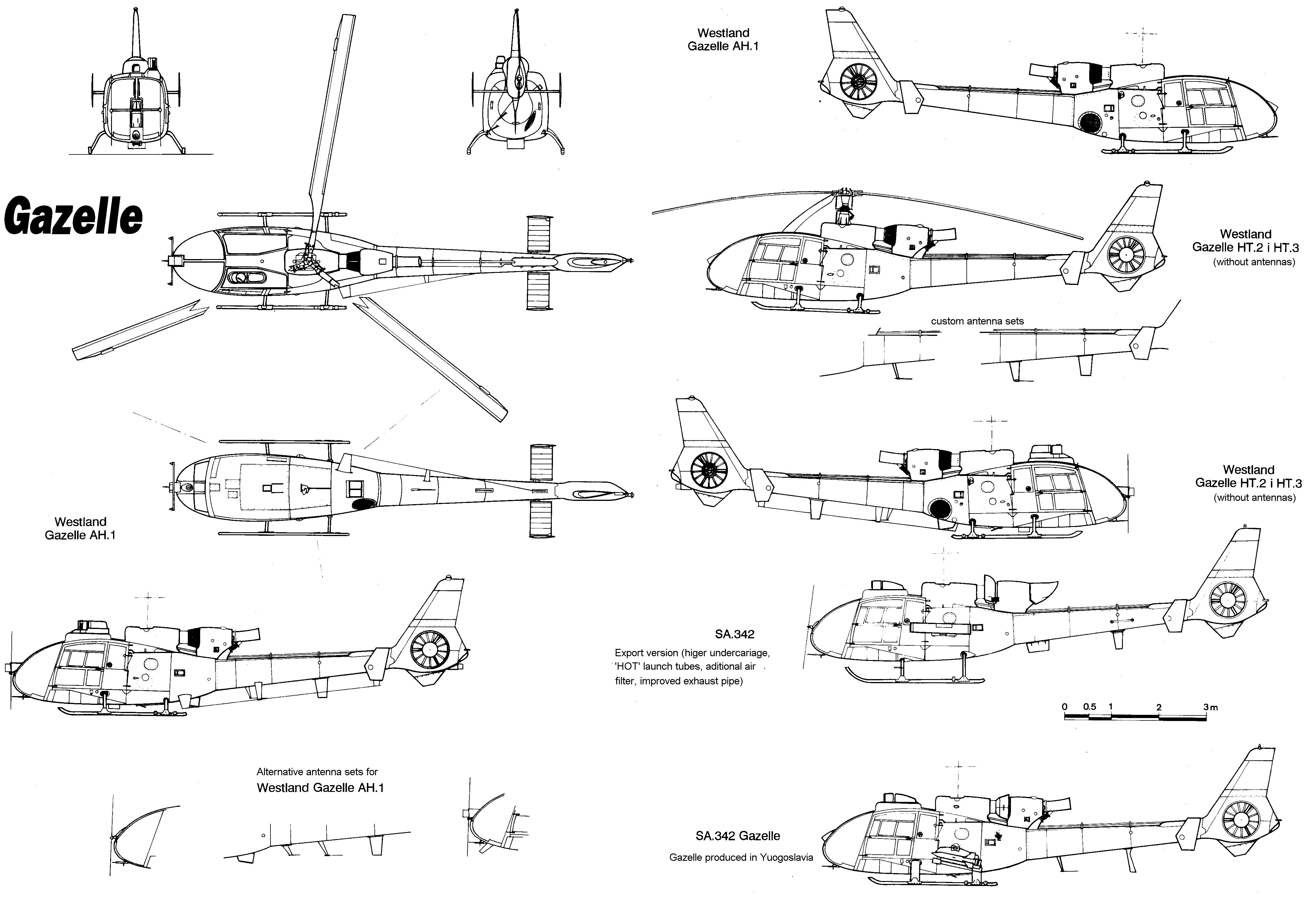 Aérospatiale Gazelle blueprint