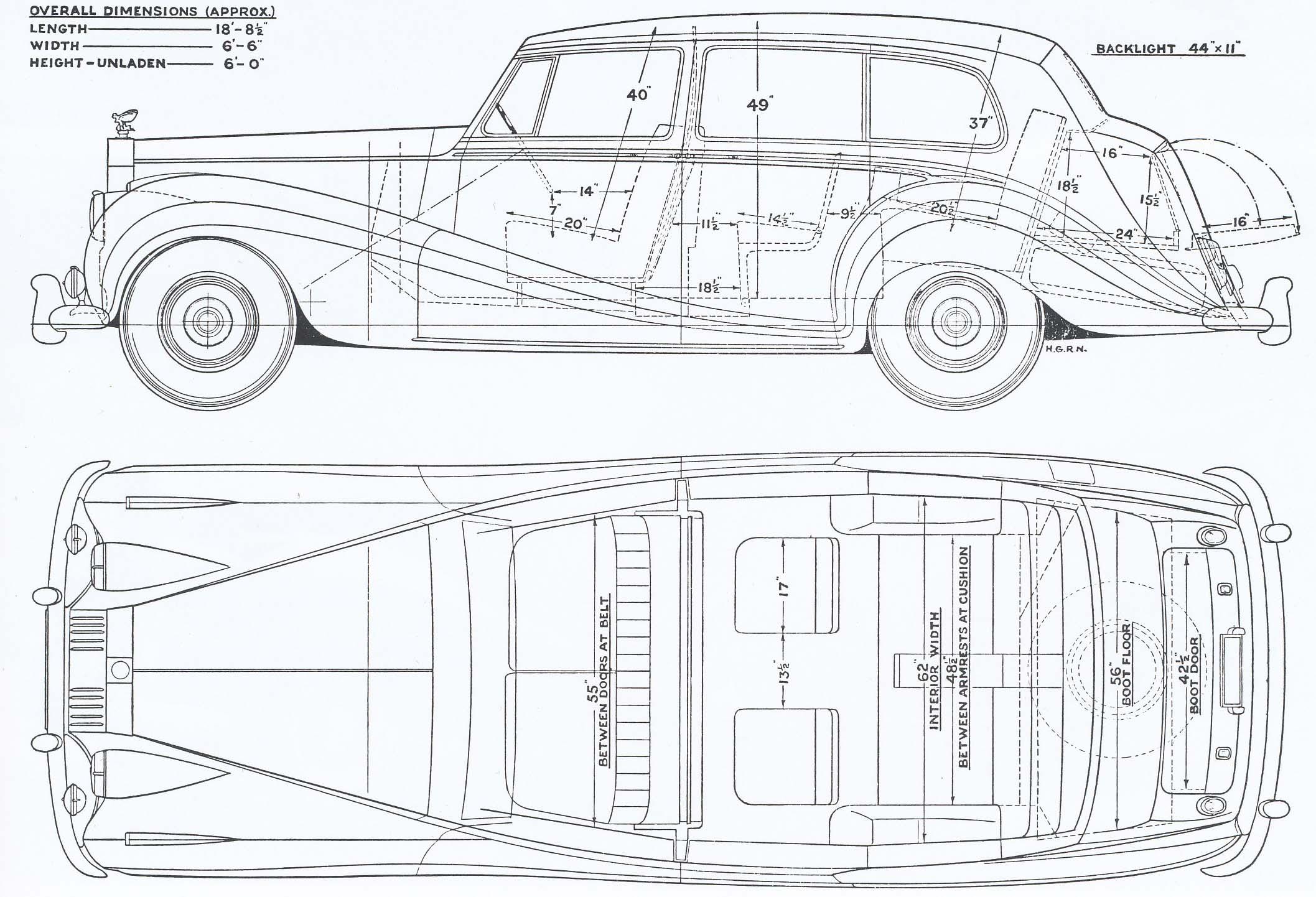 rolls-royce silver wraith 1958 blueprint
