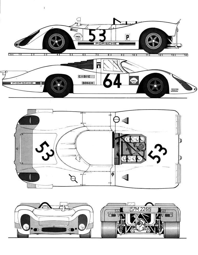 Porsche 908 blueprint