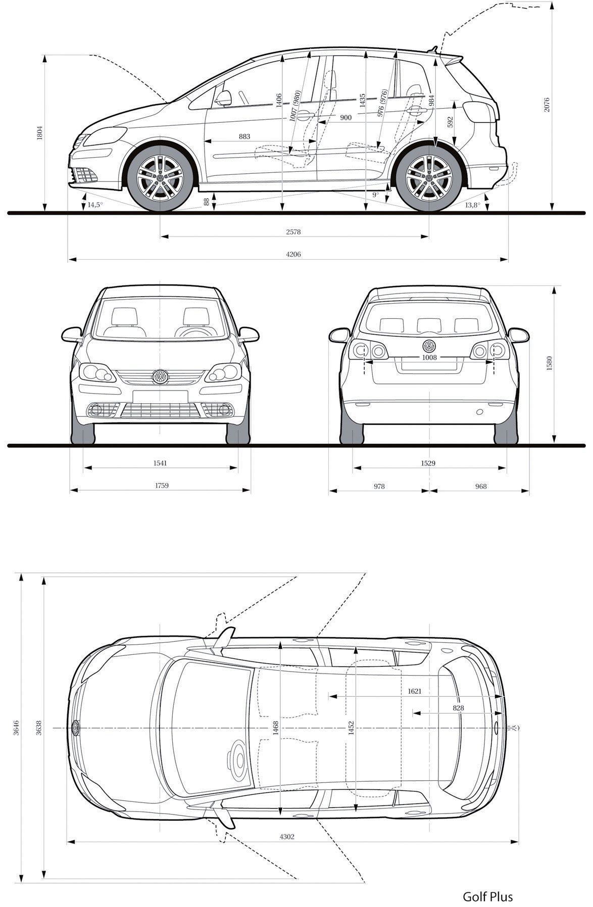 volkswagen golf plus 2005 blueprint download free blueprint for 3d modeling. Black Bedroom Furniture Sets. Home Design Ideas