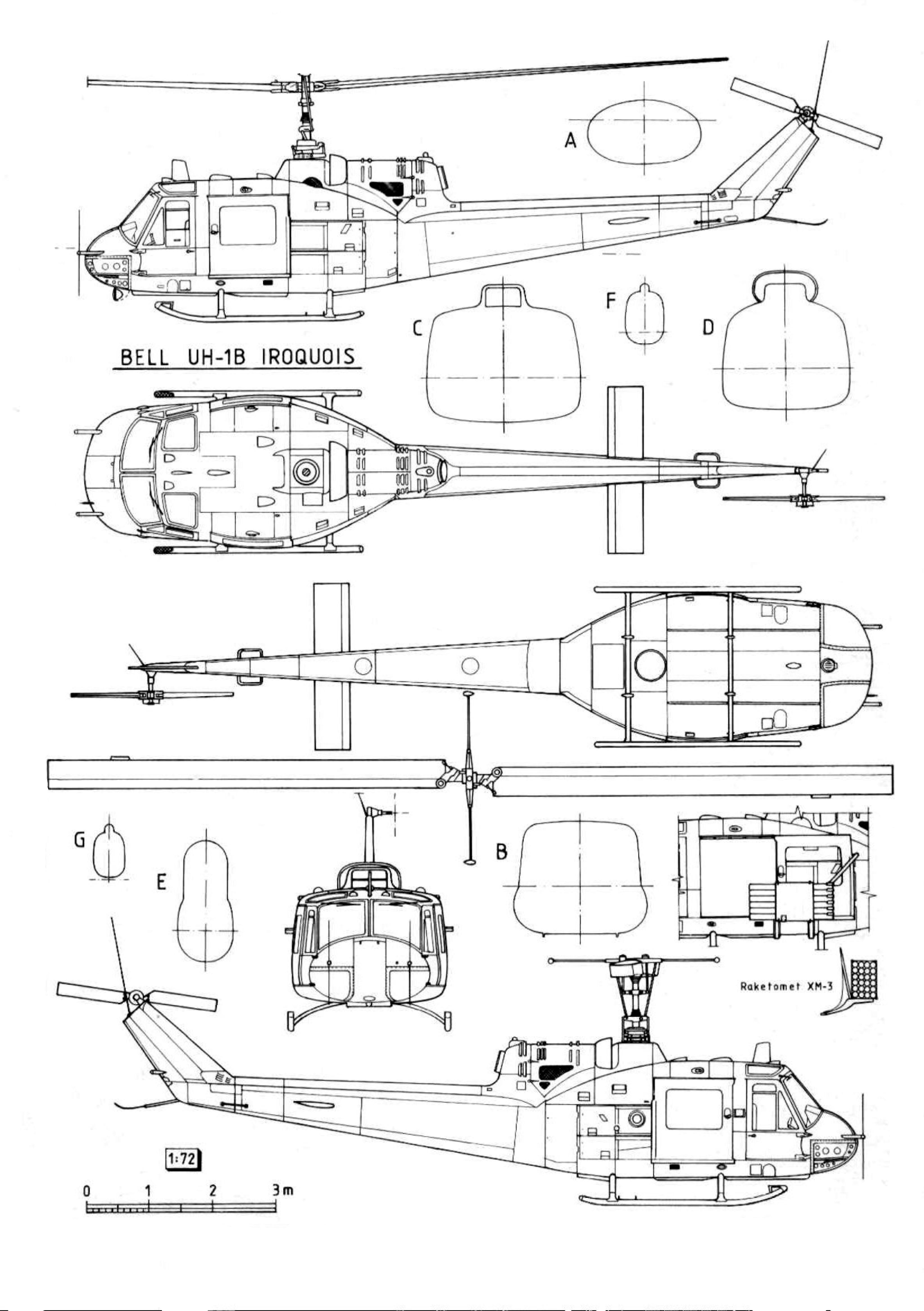 Bell UH-1 Iroquois blueprint
