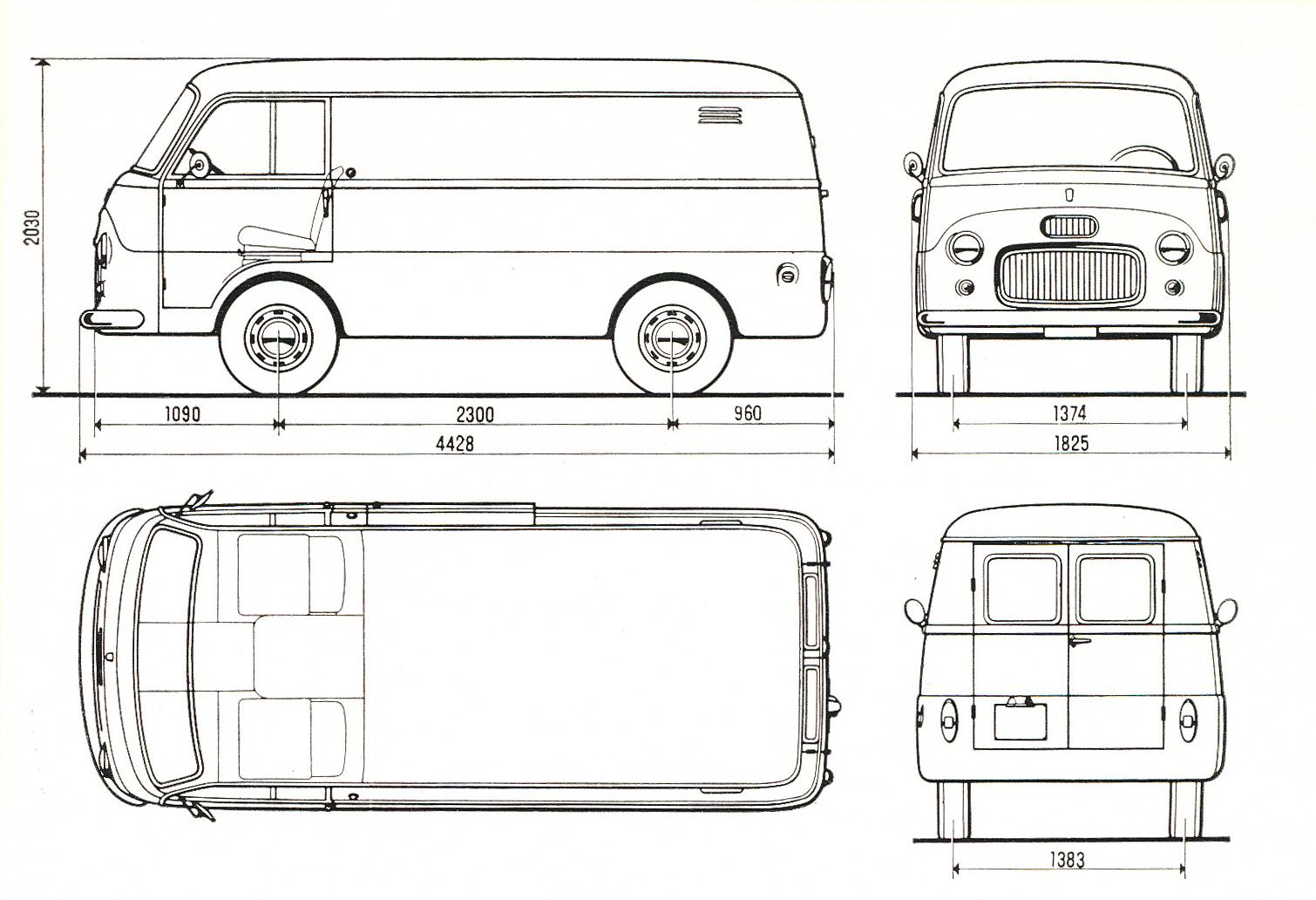 fiat 1100t 1965 blueprint