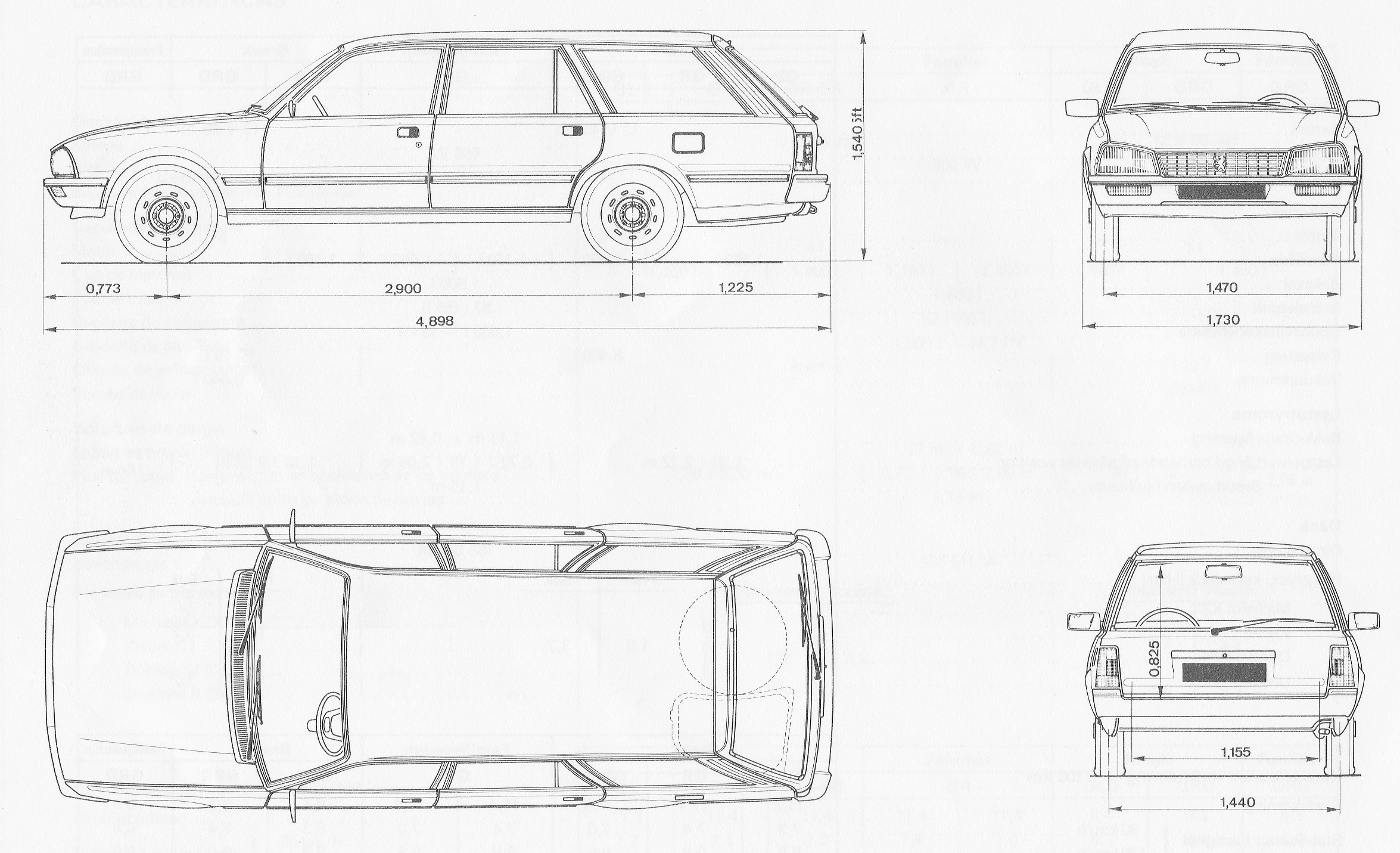 Peugeot 505 blueprint