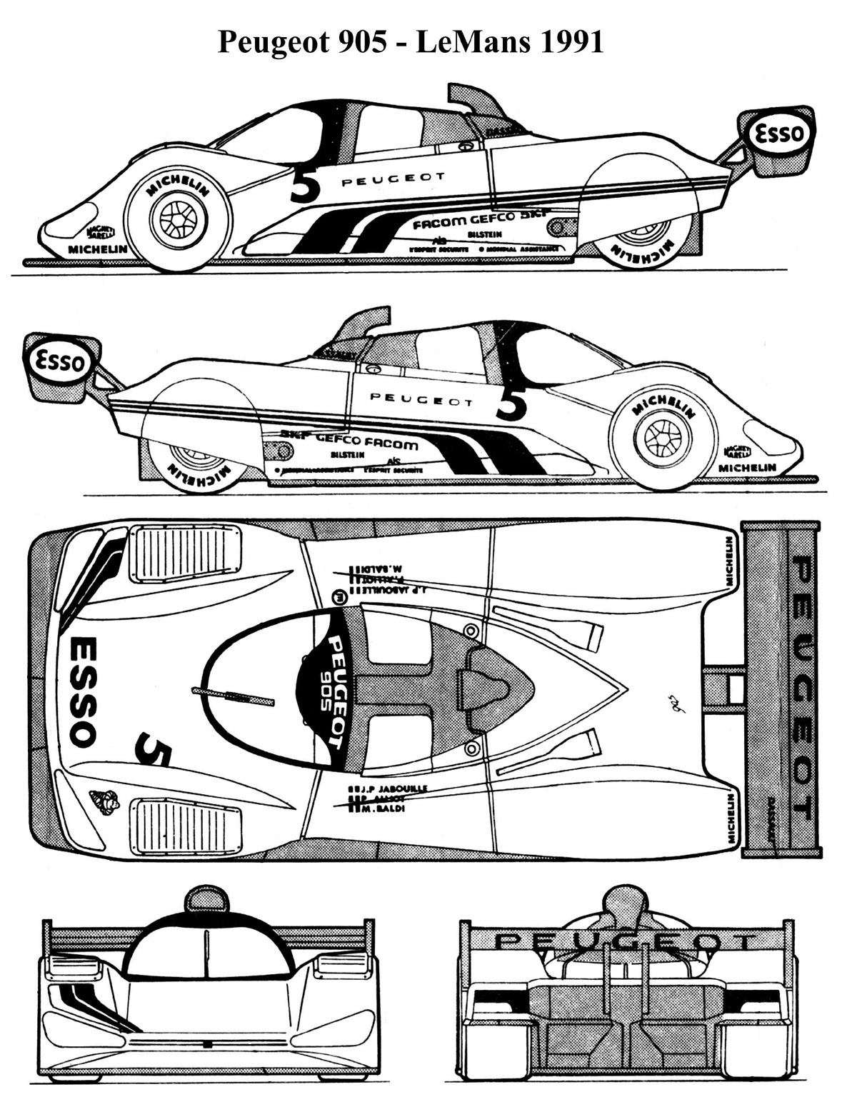 Peugeot 905 blueprint