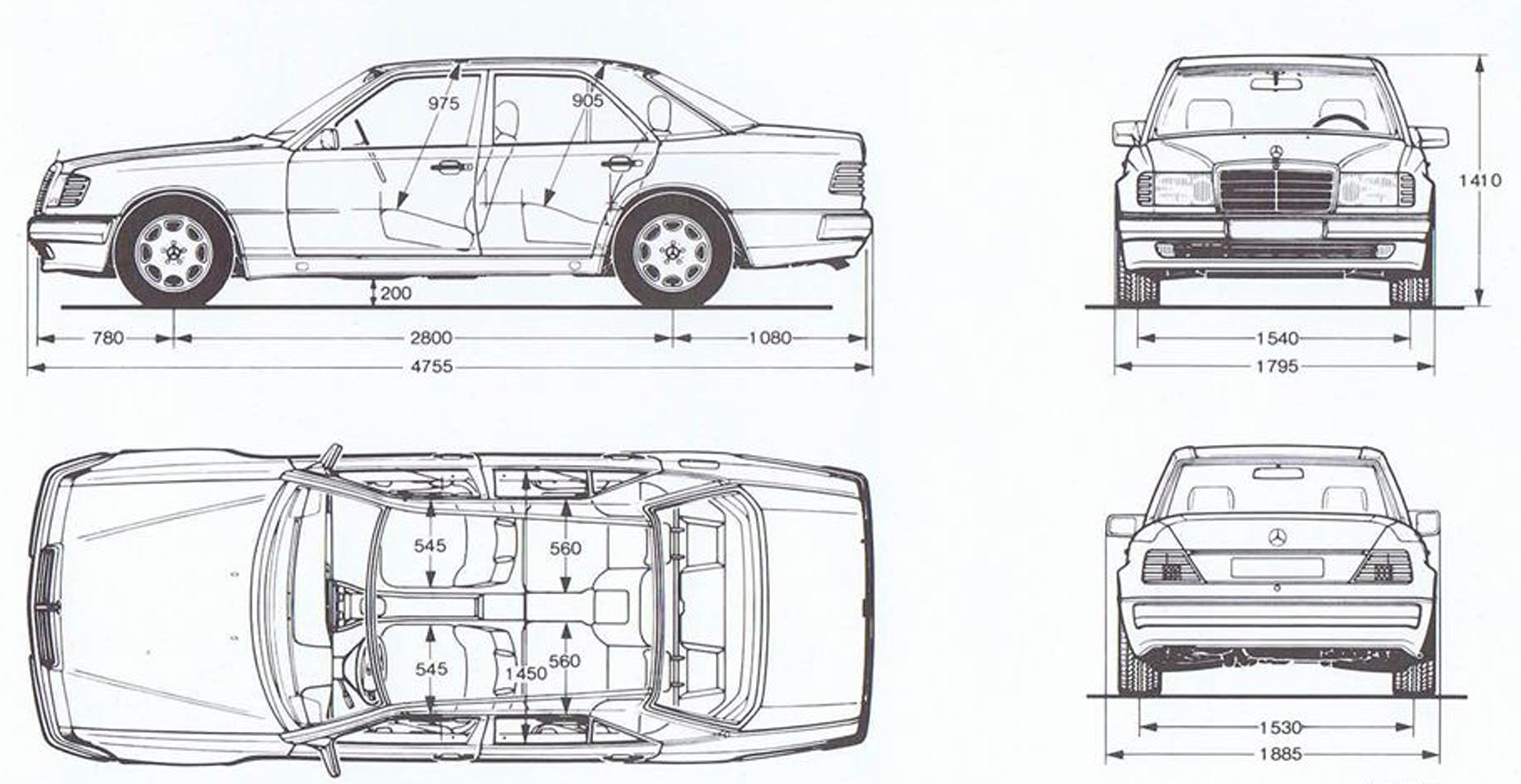 Mercedes Benz 500e 1992 Blueprint Download Free