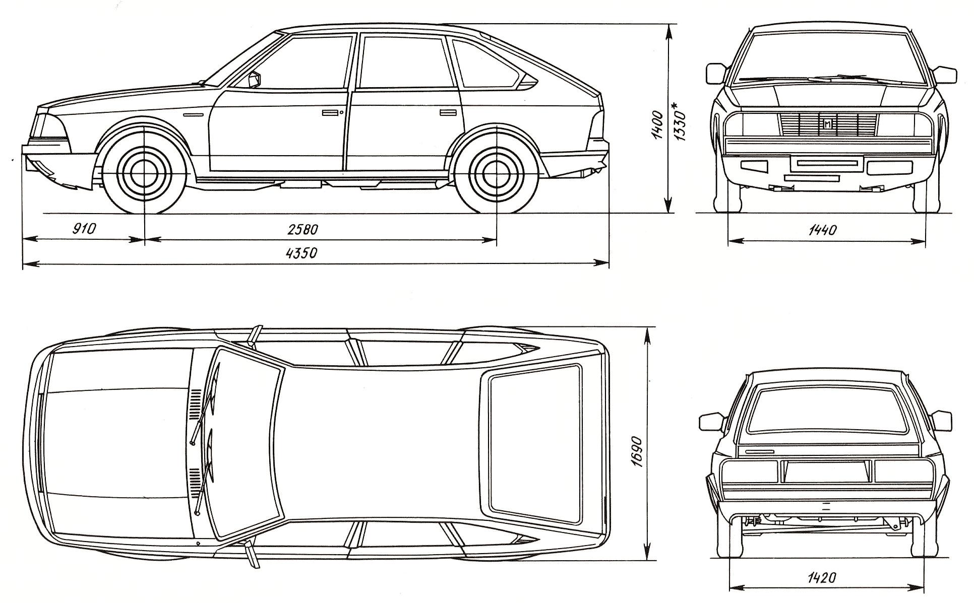 Moskvitch 2141 Aleko Blueprint Download free blueprint for 3D