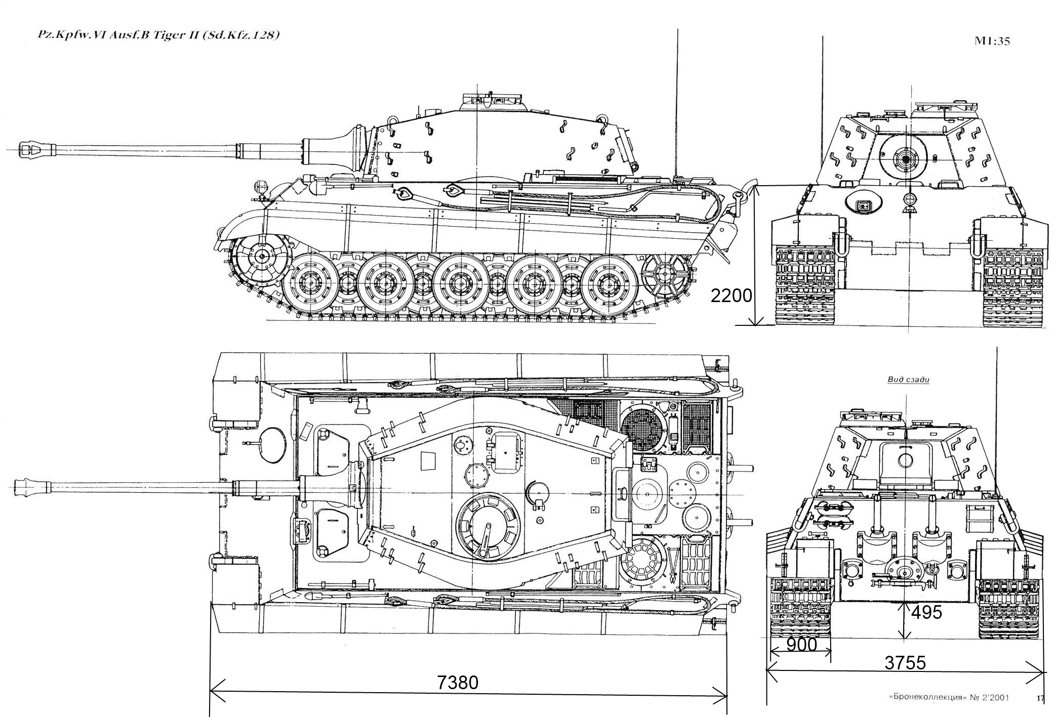 Tiger II Blueprint - Download free blueprint for 3D modeling