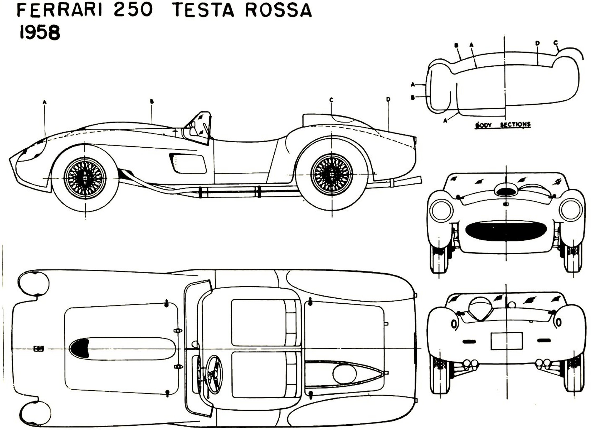 Ferrari 250 Testarossa 1958 Blueprint Download Free