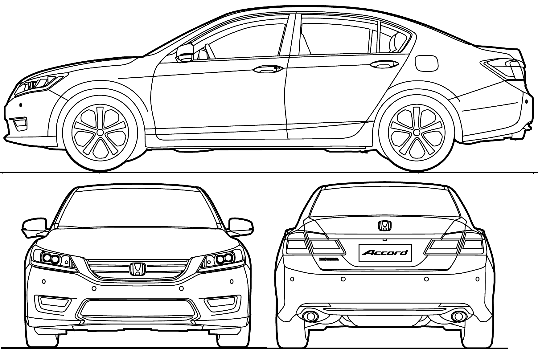 dibujo de honda accord descapotable para colorear
