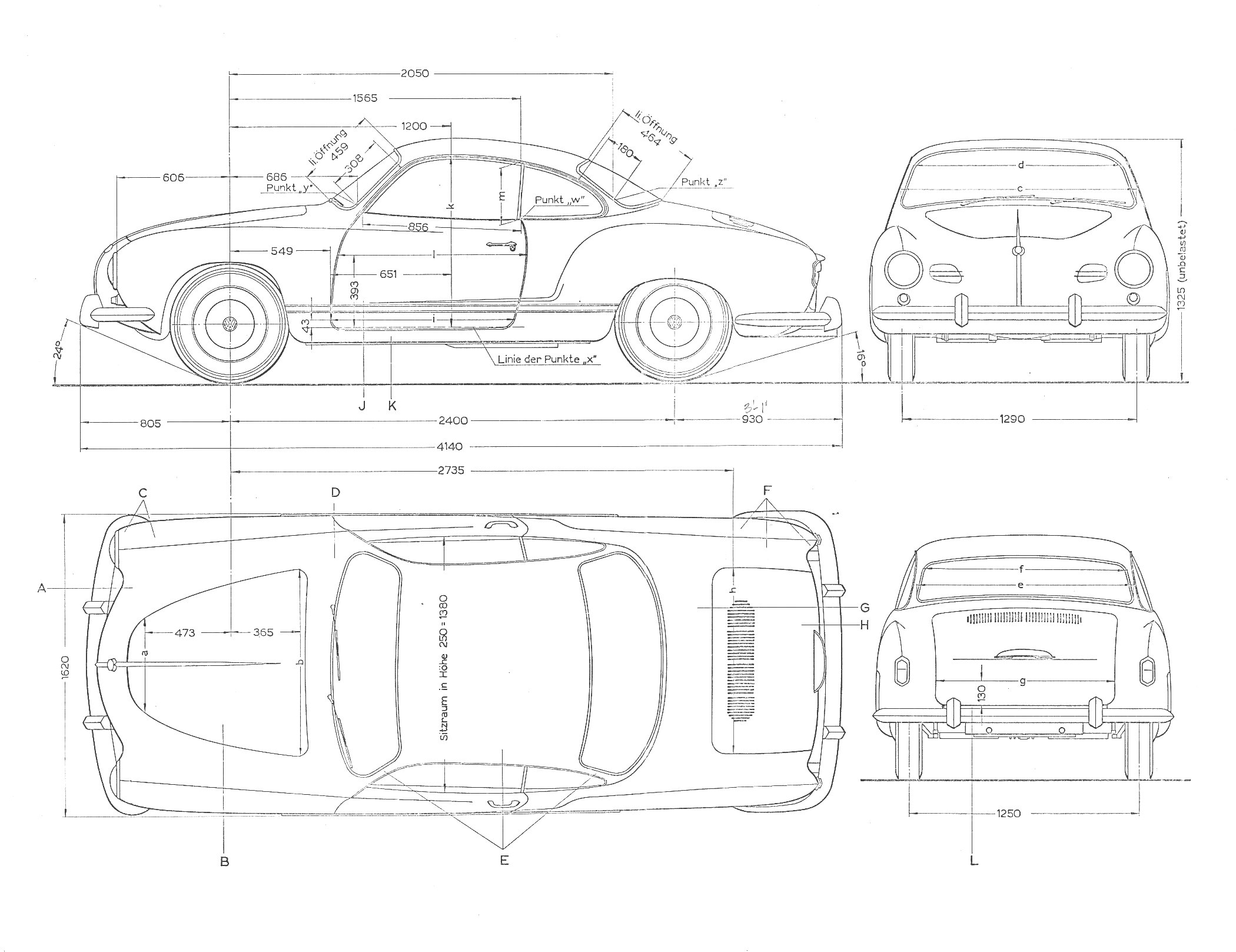 Volkswagen Karmann Ghia blueprint