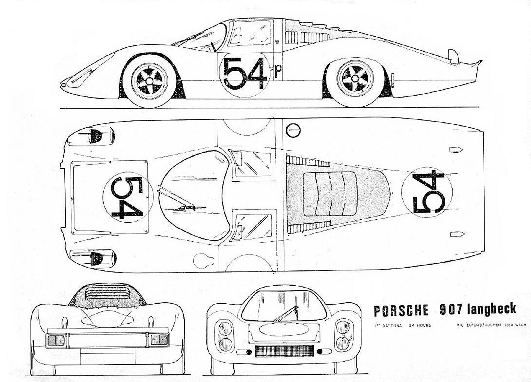 Porsche 907 Blueprint Download Free Blueprint For 3d