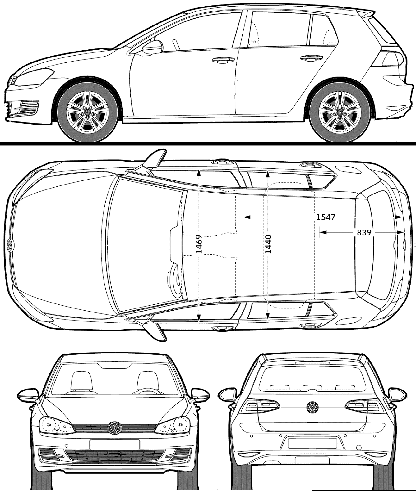 Volkswagen golf 2013 blueprint download free blueprint for 3d modeling volkswagen golf blueprint malvernweather Image collections