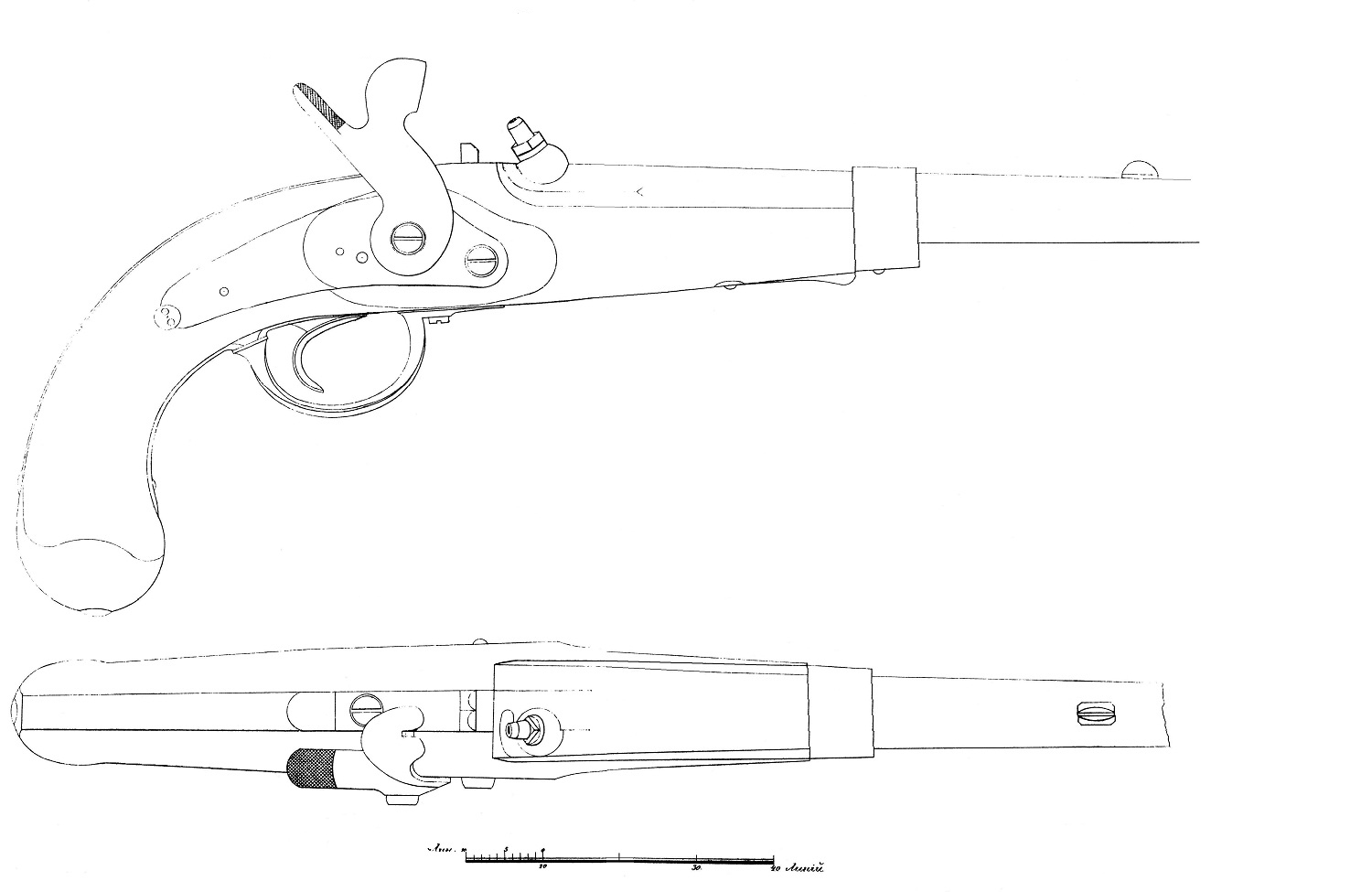 Russian old pistol blueprint