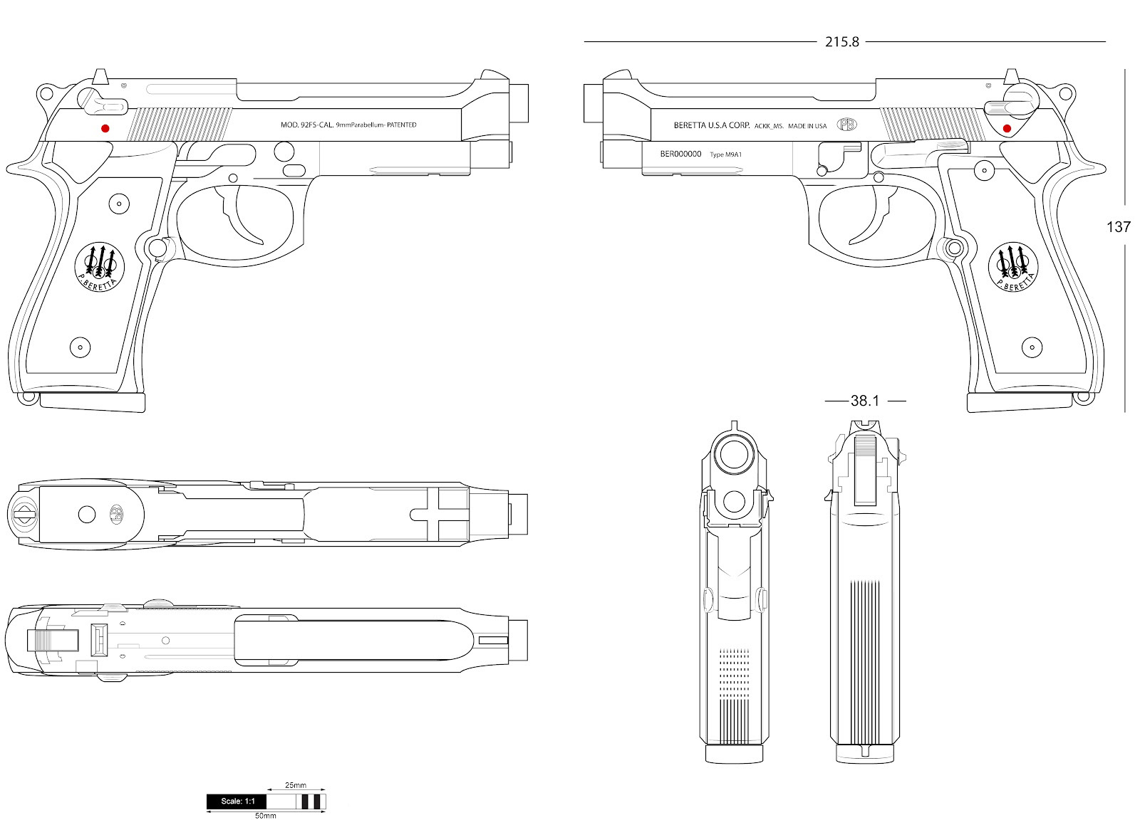 Beretta 92fs blueprint download free blueprint for 3d for Free 3d blueprints