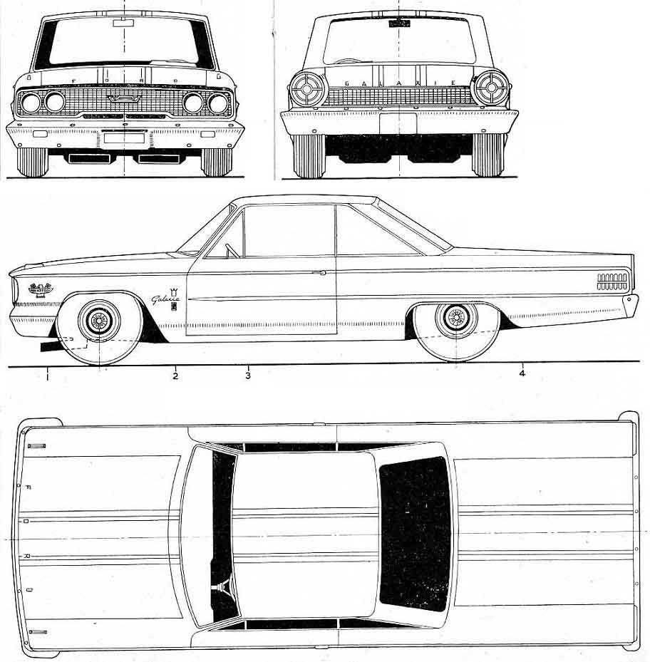 Ford Galaxie 500 1963 Blueprint - Download free blueprint ...