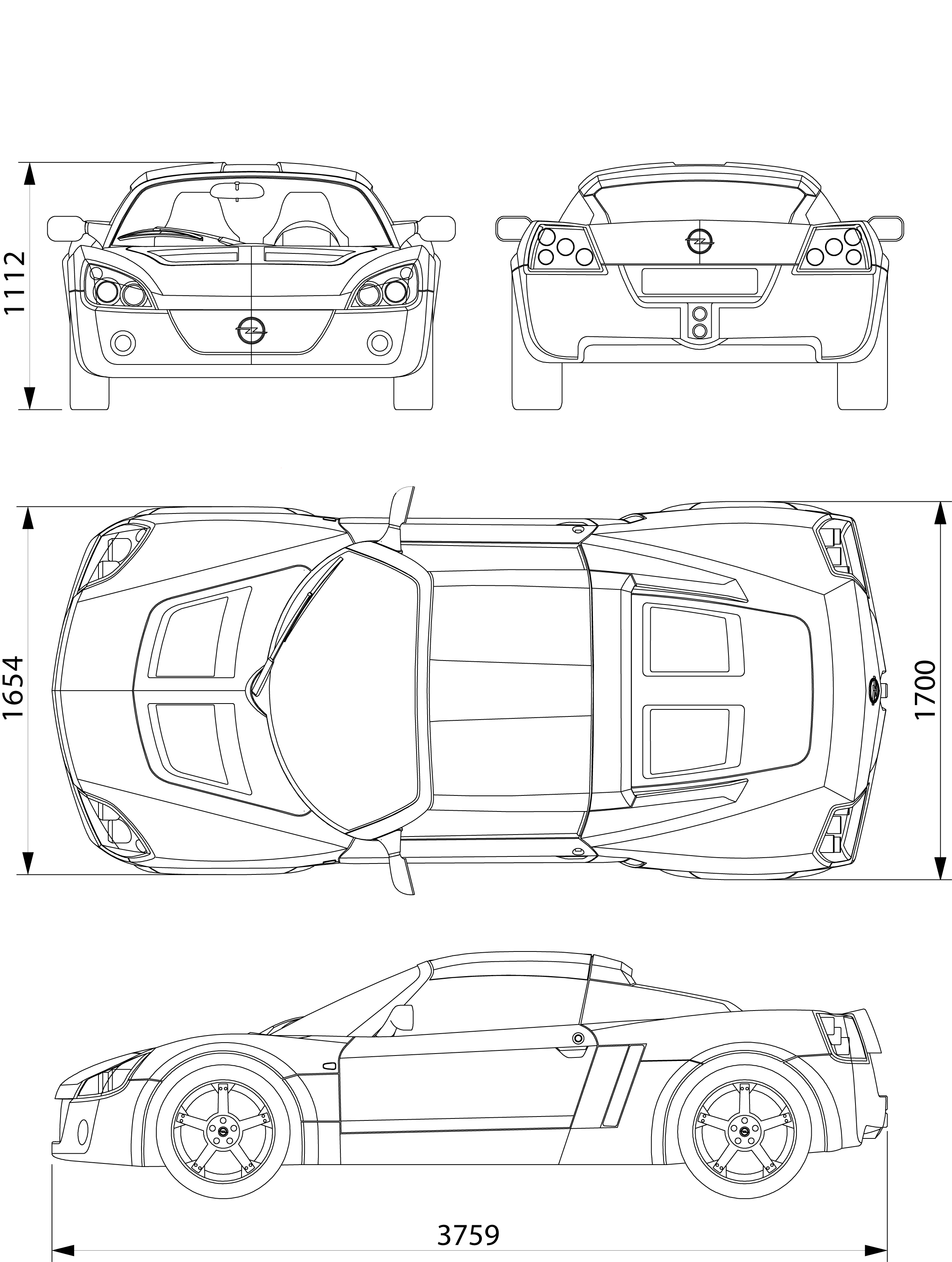 Opel Speedster blueprint