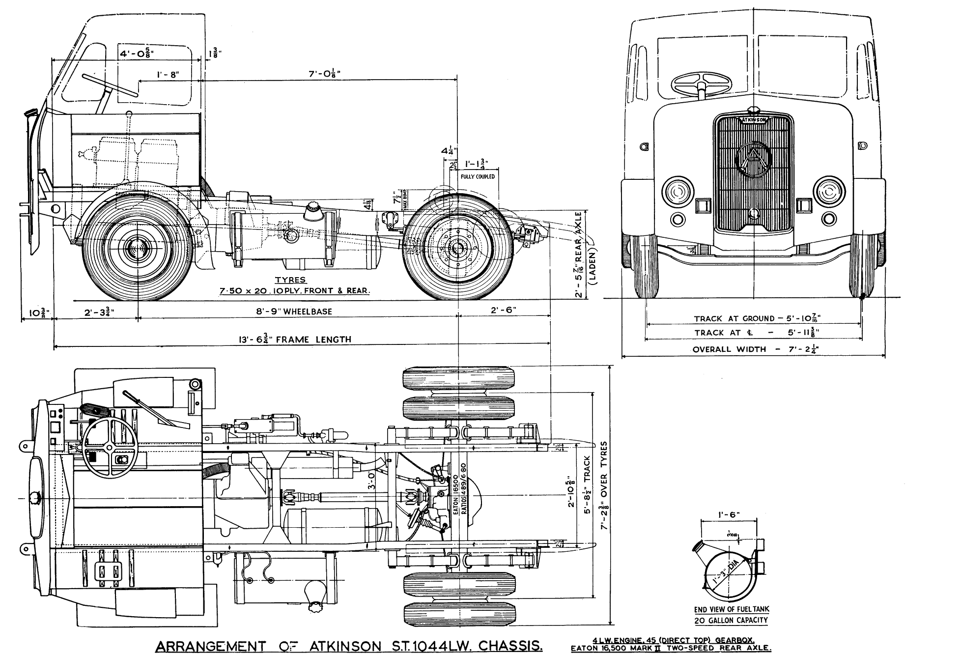Atkinson st1044lw tractor truck 1954 blueprint download for Free 3d blueprints