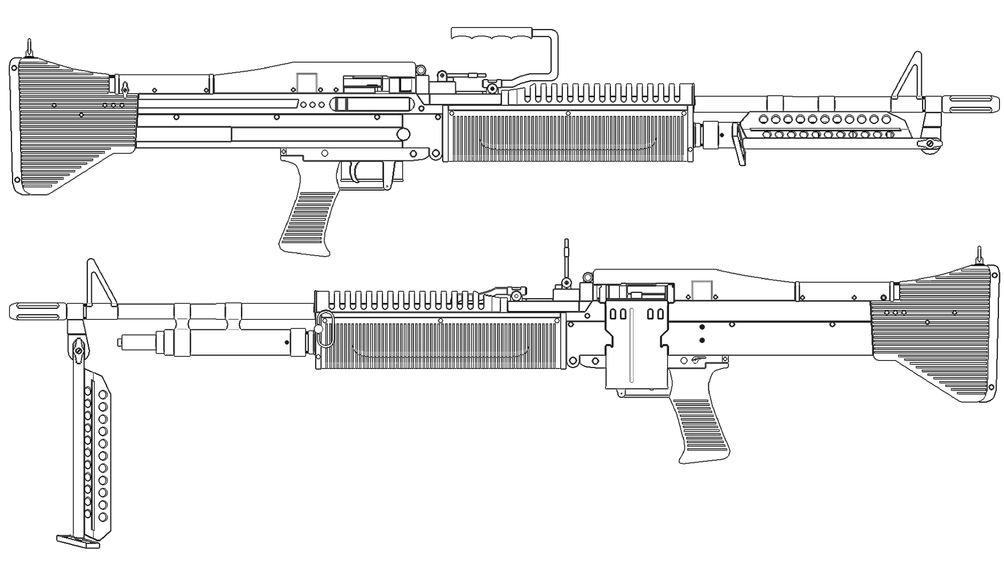 M60 machine gun Blueprint - Download free blueprint for 3D ...
