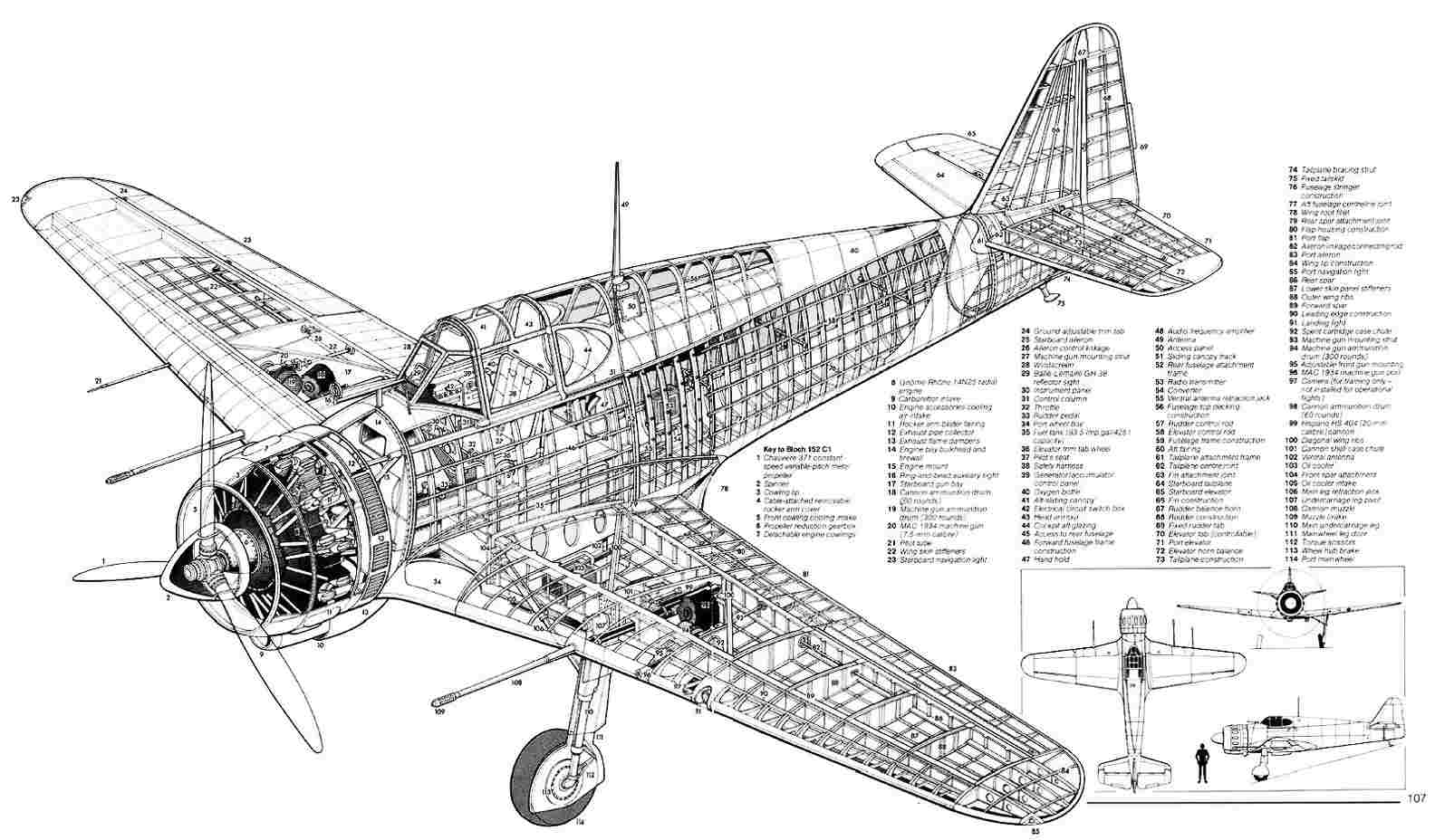 Bloch MB.152 blueprint