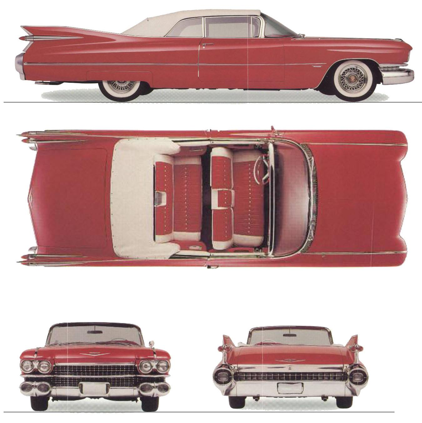 Cadillac de Ville 1959 Blueprint - Download free blueprint for 3D ...