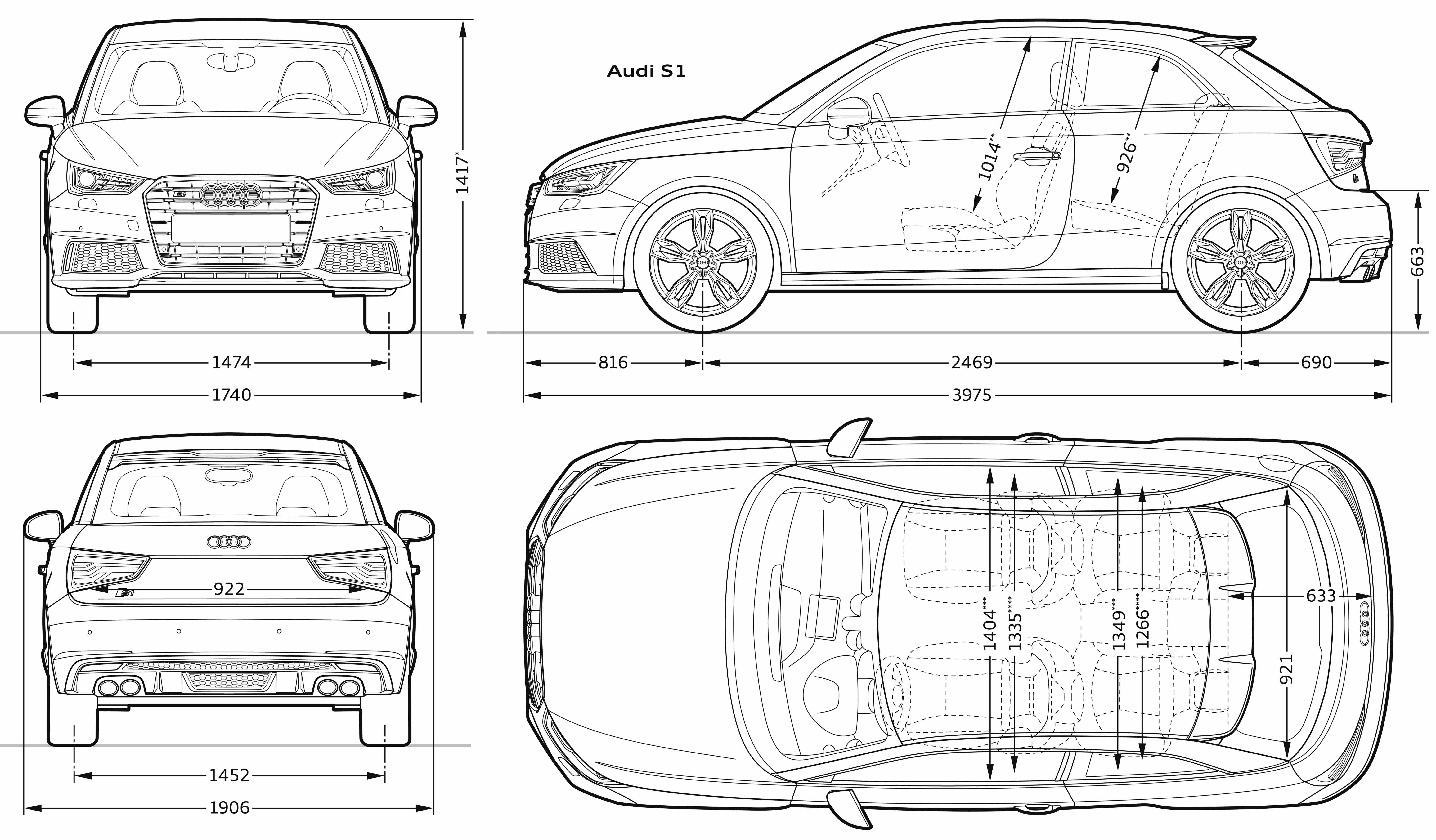 Audi S1 blueprint