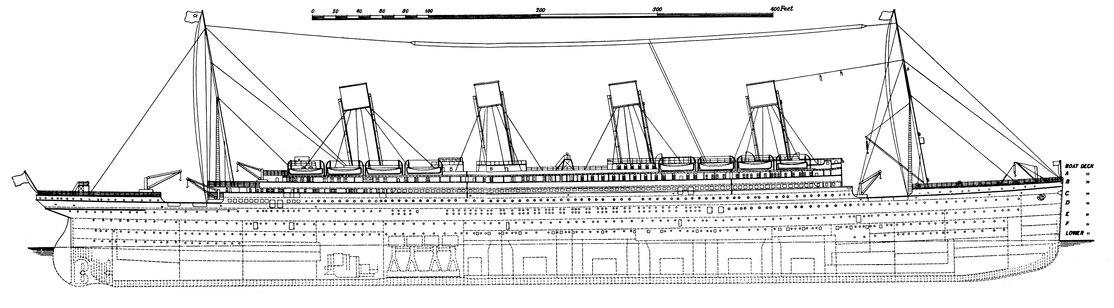 RMS Titanic Blueprint - Download free blueprint for 3D modeling