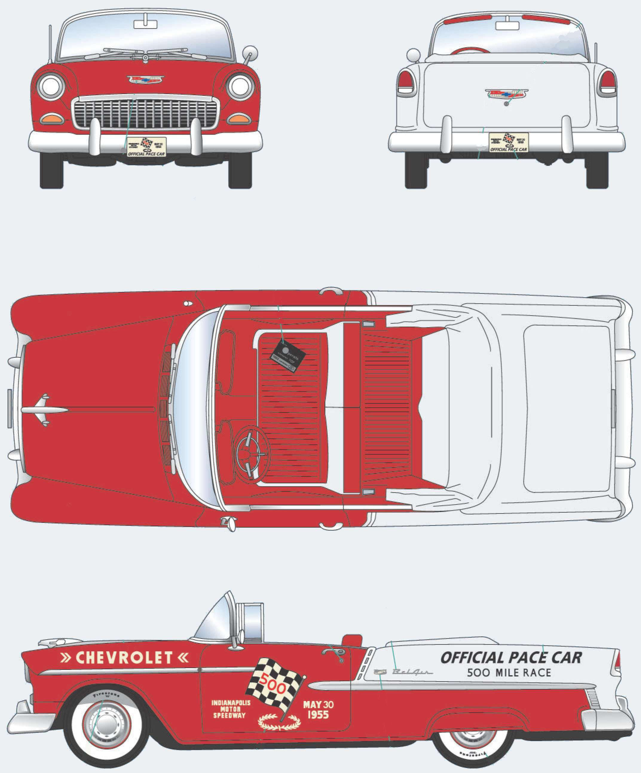 Chevrolet Bel Air Indy Pace Car blueprint